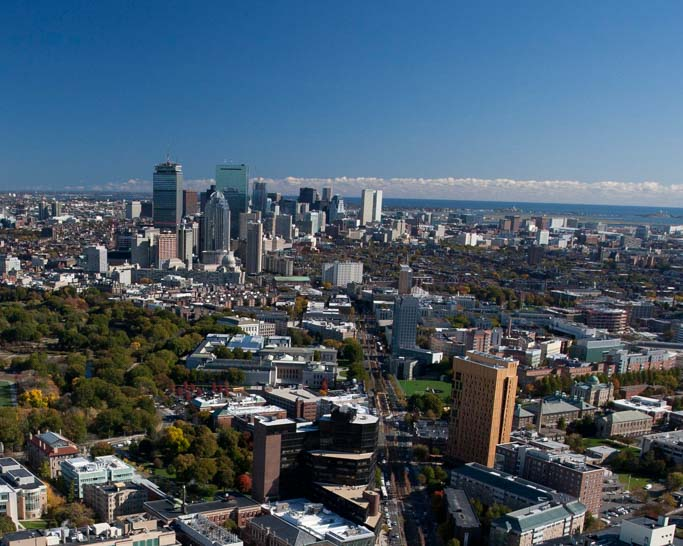Aerial view of Boston.
