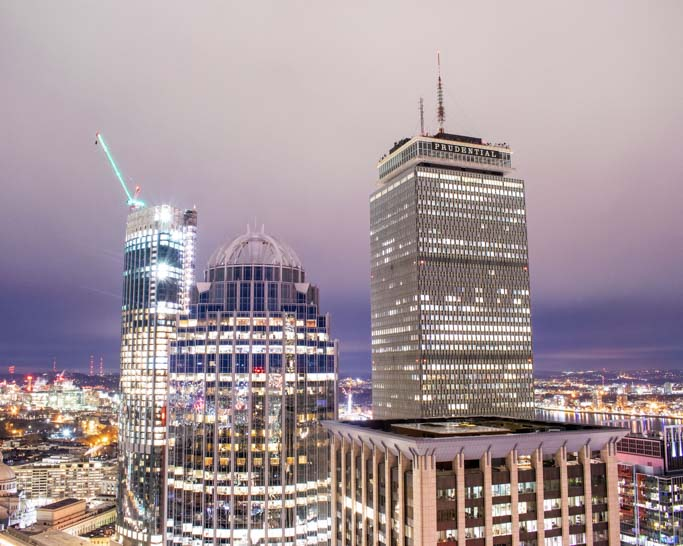 Boston skyline featuring Prudential Center.