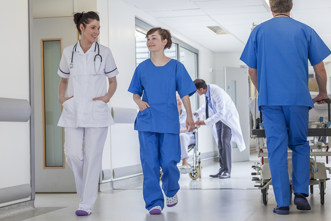 Doctors walking in hospital