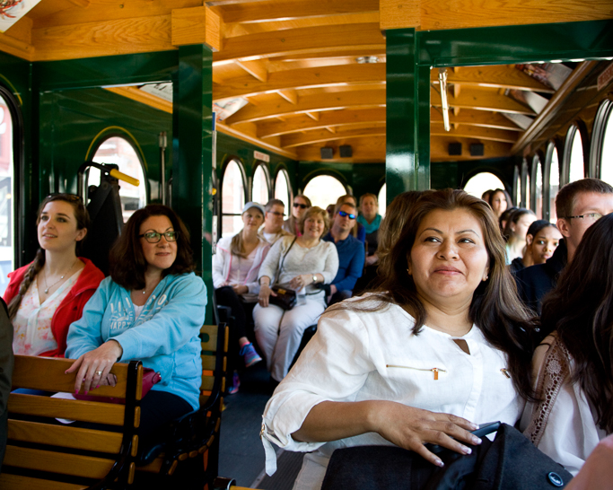 MCPHS Spring open house attendees on a Trolley Tour.