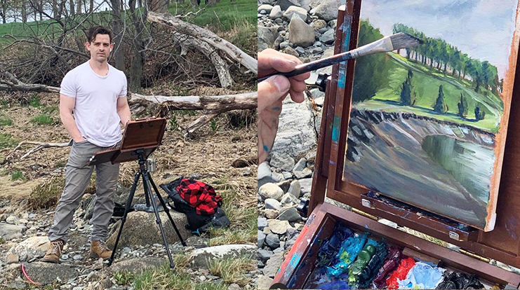 Jacob Garcia outside with this easel. A close-up of one of Jacob's paintings.