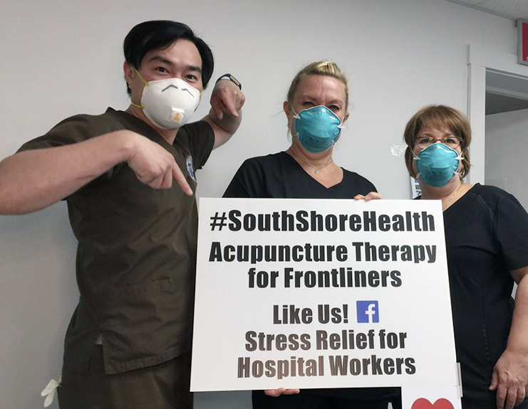 NESA alumni who started a acupuncture pop-up for hospital workers.