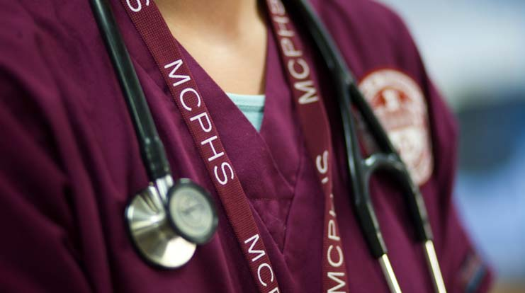 Close up of MCPHS scrubs.