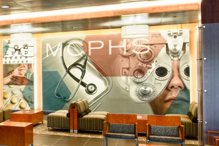 Closeup of MCPHS Optometry mural on the Worcester campus.