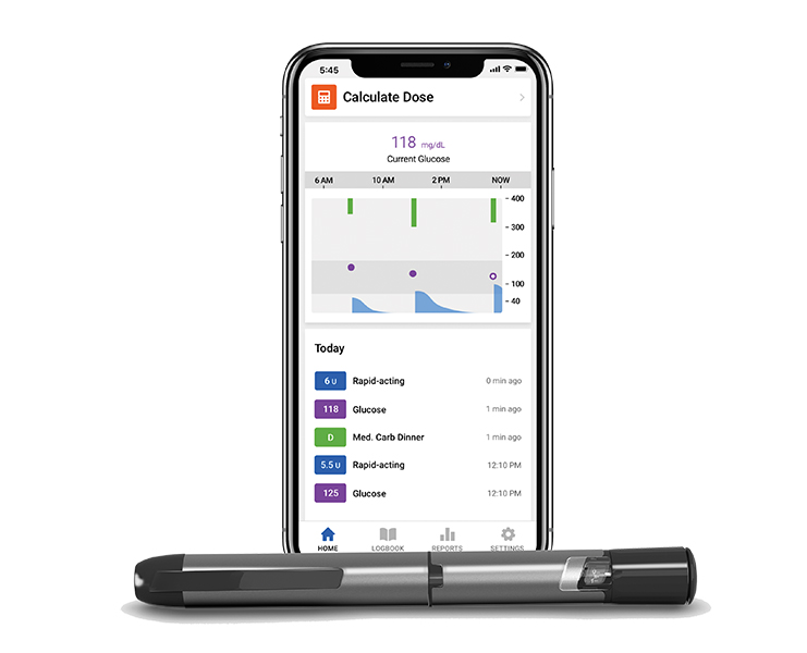 Insulin pen with phone. Phone displays data from the pen.