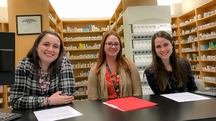 Amanda Robinson PharmD '19, Professor Jennifer Prisco, Assistant Professor in the School of Pharmacy, Allison Lombardi, Senior Assistant Director of Admission.