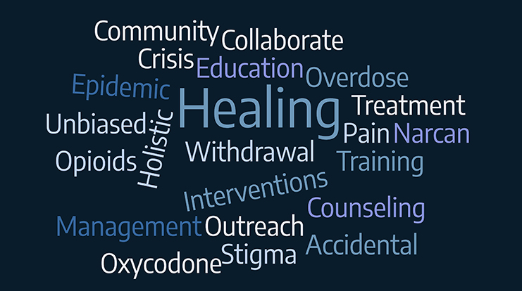 Words that describe addiction and helping with addiction.