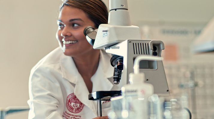MCPHS student in a chemistry lab.