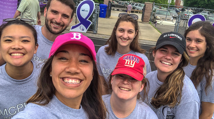 Manchester nursing students at the Relay For Life fundraiser for the American Cancer Society.
