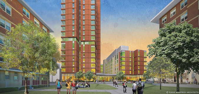 Architectural rendering of new Emmanuel residence hall