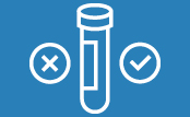 Icons of a testing tube and a positive and a negative symbol.